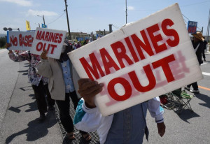 Okinaw protesters call for Marines Out