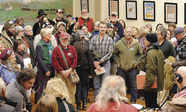 West Virginia resident,Russell Mokhiber, speaks to pipeline opposition advocates at Hancock Town Hall Feb 9, 2017. By Kevin Gilbert for Herald