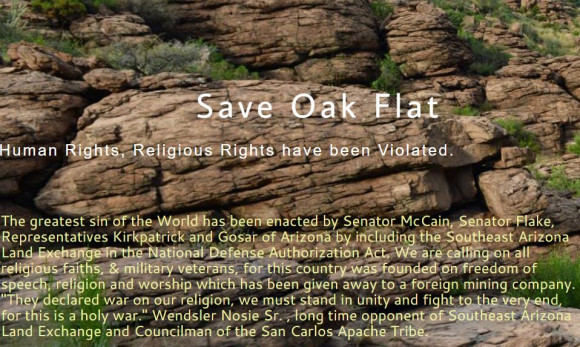 Save Oak Flat meme with brief story