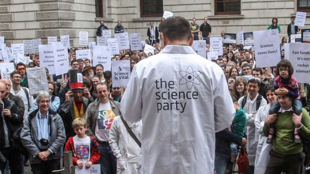 Scientists are no strangers to demonstrations. Here, researchers in London protest budget cuts in 2010. PA Wire/Press Association Images