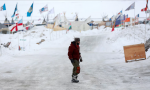 The Standing Rock camp, where temperatures are sub-zero. Activists say they will not give up their battle despite aggressive efforts to complete construction. Photograph: Terray Sylvester/Reuters