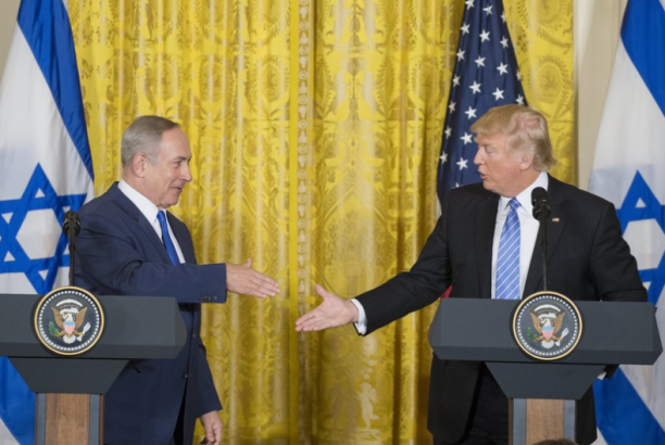 President Donald Trump and Israeli Prime Minister Benjamin Netanyahu hold a joint press conference at the White House on 15 February. Michael Reynolds EPA