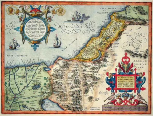 1570 French map of Palestine