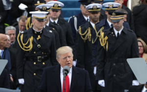 Trump inauguration with military services standing behind him for key photo op