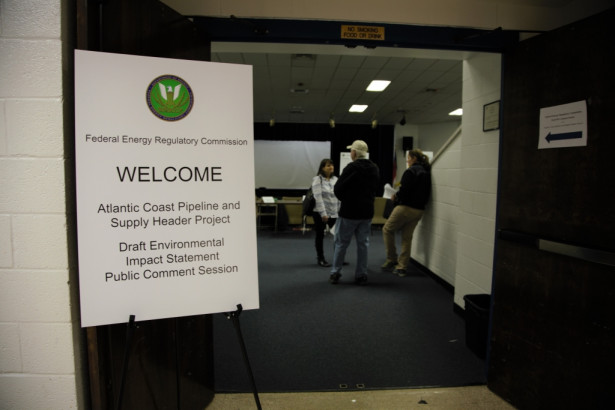 Welcome, except for the media. Reporters were not allowed to interview, record or photograph in the auditorium where federal officials were accepting public comment about the Atlantic Coast Pipeline.  (Photo by Lisa Sorg)