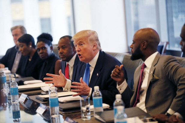 Donald Trump meeting with the Republican Leadership Initiative in New York, Aug. 25, 2016. Dr. Ben Carson is seated next to Trump at center. Source: Grandmother Africa.
