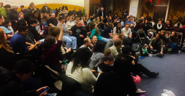 More than 400 people attended an organizing meeting last week at Living Water Community Church in Rogers Park to discuss how they could resist any efforts by the Trump administration to carry out immigration enforcement actions in their neighborhood. | Kristi Sanford