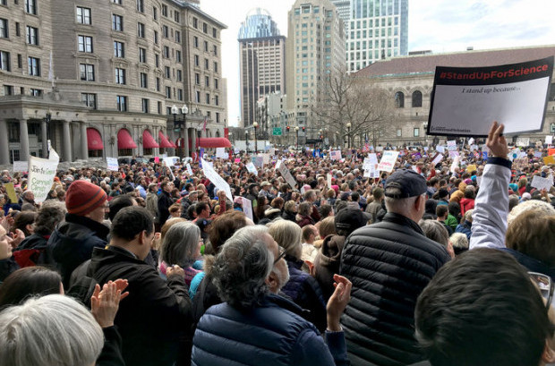 Boston's Copley Square fills with people during the Rally to Stand Up for Science. Sarah McQuate