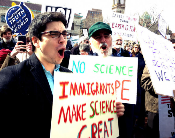"""Science is not silent,"" was one of the cries that rang out through Boston's Copley Square during the Rally to Stand Up for Science. Sarah McQuate"