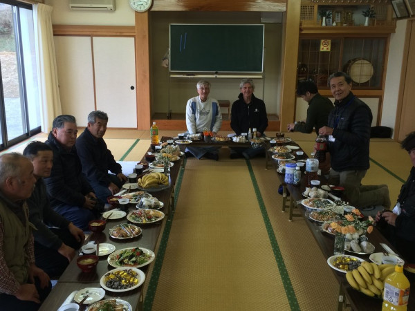 Sharing a lunch with local officials. They shared their personal stories from the disaster, feeling the blast wave, and being personally irradiated.
