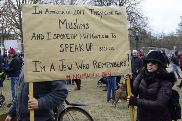 Protesters march in front of the White House to protest Trump administration's ban on immigration and travel from seven Muslim majority countries. Stephen Melkisethian, CC BY-NC-ND