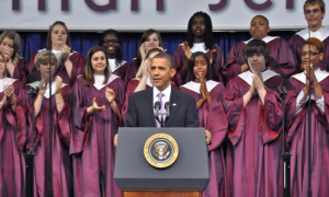 Barack Obama delivers keynote speech at Kalamazoo Central High School's commencement ceremony in 2010. Photo courtesy of Kalamazoo Promise.