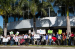 Demonstrators gather in front of Republican Sen. Marco Rubio's office on West Kennedy Boulevard in Tampa on Jan. 31 to protest the recent actions of Donald Trump. The owner of the building, called Bridgeport Center, has asked Rubio's office to leave because the weekly demonstrations are disrupting other tenants.
