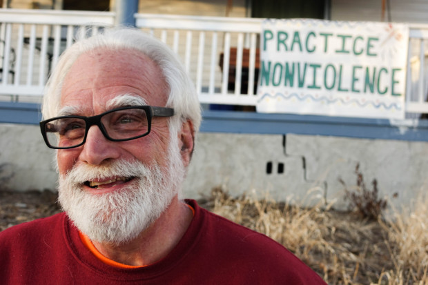 Frank Cordaro, Catholic Workers, Iowa, the protesting priest. Photo by Hannah Little
