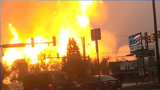 Spectra gas pipeline explosion in Salem Township, PA May 2016