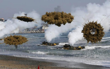 Multiple times each year the US and South Korea conduct war games that include amphibious landing and nuclear attack on North Korea. Reuters 2016.