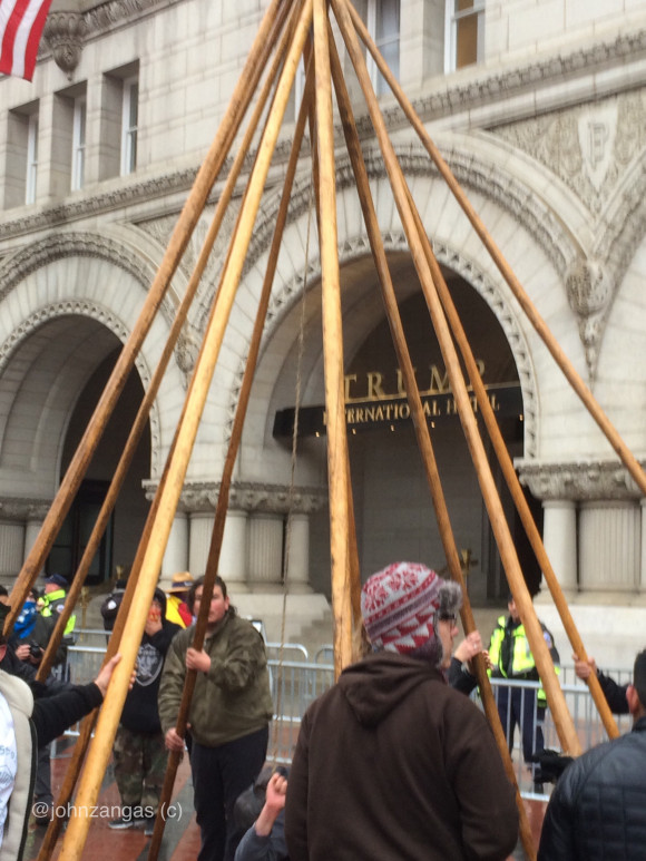Standing Rock Sioux set up a Tipi outside Trump Int'l Hotel. Photo: John Zangas