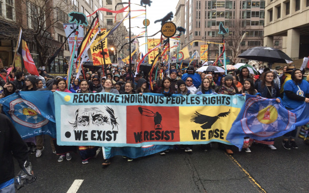 Native Americans march to White House. Photo: John Zangas