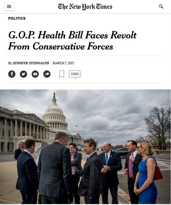 "The New York Times provides a platform for those who felt Trumpcare was ""not the Obamacare repeal bill we've been waiting for."""