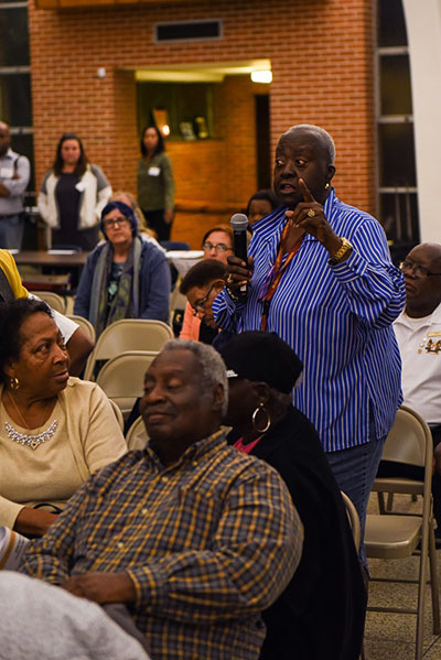 A Ninth Ward community member disparages the Florida Avenue Roadway project. (Photo: Michael Stein)