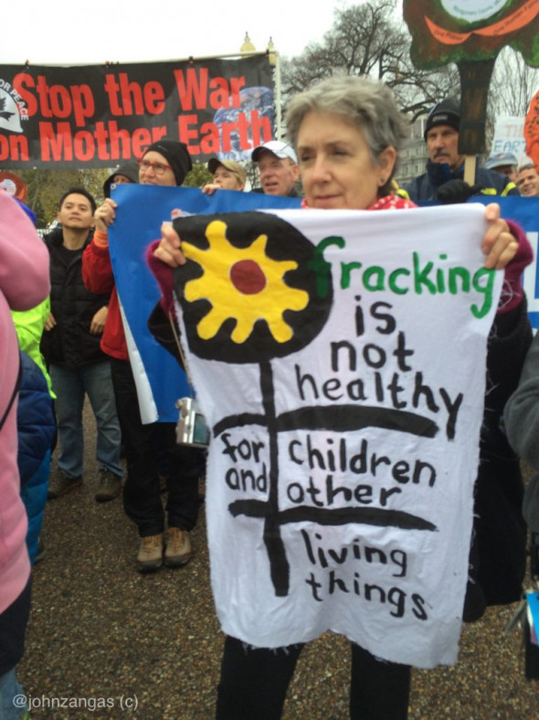 Fracking protests at the White House drew many from the state of Maryland including this one in 2015. Photo: John Zangas