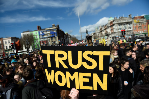 CLODAGH KILCOYNE / REUTERS Dublin protestors on March 8, 2017, gathered near the O'Connell Bridge. Despite these wins and signals that attitudes are changing, activists say legal progress has been minimal.