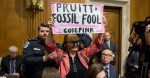 A CodePink protester is removed by Capitol Police during testimony from Scott Pruitt during his confirmation hearing before the Senate Environment and Public Works Committee on January 18, 2017. (Photo: EFE/Michael Reynolds
