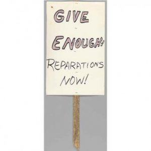 Also in the museum's collections is a protest sign from 2000 calling for reparations for the Tulsa massacre. (NMAAHC, Gift of Eddie Faye Gates) Read more: http://www.smithsonianmag.com/smithsonian-institution/long-lost-manuscript-contains-searing-eyewitness-account-tulsa-race-massacre-1921-180959251/#8axZlEhCRMOUD9TU.99 Give the gift of Smithsonian magazine for only $12! http://bit.ly/1cGUiGv Follow us: @SmithsonianMag on Twitter