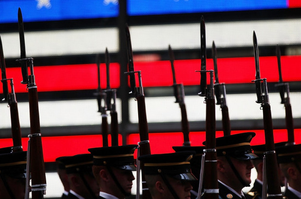 Members of the U.S. Army Drill Team perform in New York's Times Square in honor of the Army's 240th birthday on June 12, 2015. : Spencer Platt/Getty Images.