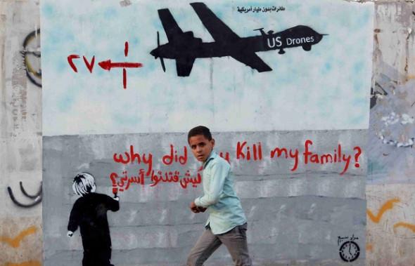An anti-drone mural in Sanaa, Yemen, in December 2013 (AFP)