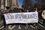 Activists carry a banner for the strike at a march on February 16 in New York City. (Facebook/Cosecha)