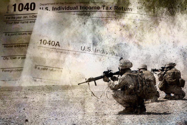 Antiwar activists fed up with seeing 23 percent of their income taxes go toward US warmongering are refusing to pay. (Image: JR / TO; Adapted: Lance Cpl. Clare J. Shaffer / US Marine Corps, Pixabay)