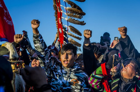 A successful protest against the Dakota Access Pipeline slated to drill beneath the Missouri River and through sacred Sioux grounds has been reversed by Trump Photograph: DDP USA/Rex/Shutterstock