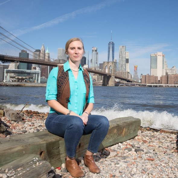May Boeve photographed in Dumbo Brooklyn: 'We're up against: the full political might of the fossil-fuel industry.' Photograph: Christopher Lane for the Observer