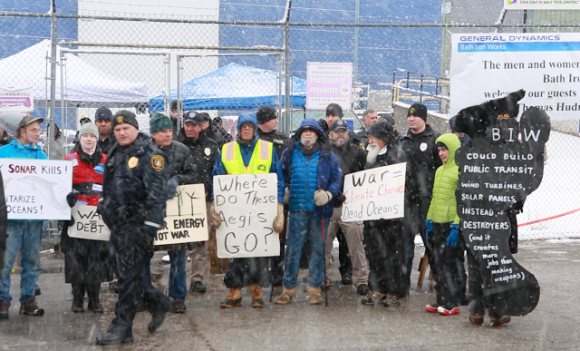 Aegis Detroyer protest at Bath Iron Works, April 2017