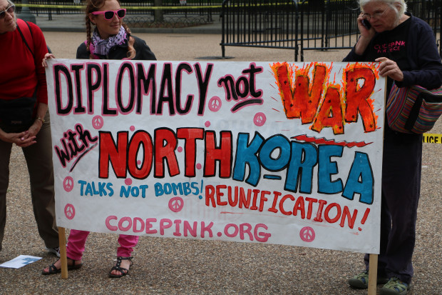 CODE PINK sign at Korean war protest at White House April 26, 2017. Photo by Chris Owens