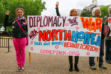 Diplomacy Not War protest against war with North Korea. By Anne Meador of DC Media Group