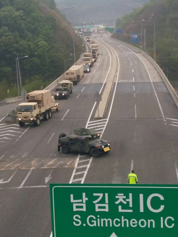MIlitary vehicles delivering THAAD 4-26-17