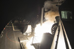 US Tomahawk cruise missile being fired at Syria