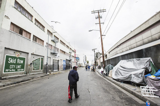 Skid Row in downtown Los Angeles. Skid Row has LA's largest concentration of homeless people who regularly camp on the sidewalks in tents and cardboard boxes Getty Images
