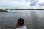 A boy fishes on a bayou near Isle de Jean Charles, La., in August 2015. Louisiana is still losing about a football field of coastline every hour. Lee Celano/AFP/Getty Images