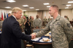 President Donald Trump greets an Airman after joining him and other service members for lunch during a visit at MacDill, AFB, FL, Feb. 6, 2017. (DoD photo by D. Myles Cullen/Released)