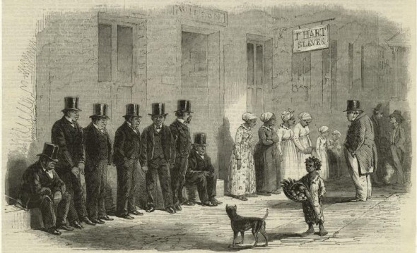 """Slaves For Sale, A Scene In New Orleans."" 1861. The New York Public Library Digital Collections."