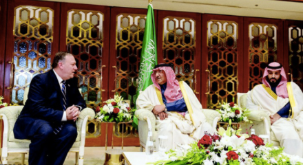 Pompeo in Riyadh with Saudi Deputy Crown Prince Mohammed bin Salman and Crown Prince Prince Muhammed bin Nayef Photo: ABNA