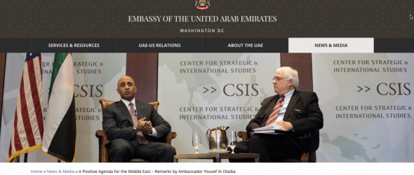 UAE Ambassador Yousef Al Otaiba, with CSIS President John J. Harme Photo: UAE Embassy