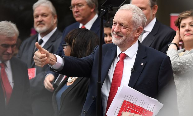Jeremy Corbyn launches the Labour party election manifesto. Photograph: Leon Neal/Getty Images