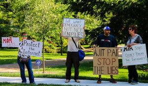 Net neutrality protesting outside of Ajit Pai's home on May 14, 2017. By Anne Meador, DC Media Group.