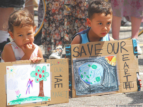 Two of the many children who marched (Photo: Thomas Altfather Good / Union Writer)