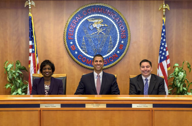 Ajit Pai (center) is the new chairman of the Federal Communications Commission. Mignon Clyburn (right) and Michael O'Rielly (left) remain as commissioners. STEVE BALDERSON/FCC