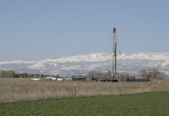 Dan Boyce / Inside Energy A drilling rig operating near Erie, Colorado on Monday.